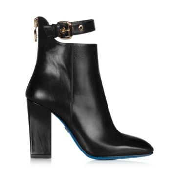 Loriblu Designer Shoes Black Leather Cut-out Bootie