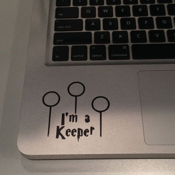 "Quidditch Goal Posts with saying ""I'm a Keeper"" Vinyl Decal"