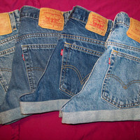 Vintage High-Waisted LEVI Denim / Jean Shorts....Cut-Off and Cuffed
