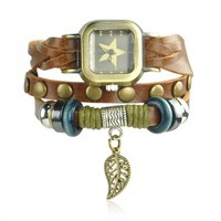 Leather Belt Star Watch with Leaf Pendant
