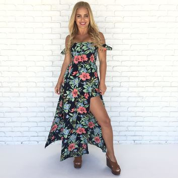 Palm Beach Floral Romper Maxi Dress in Navy