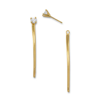 14 Karat Gold Plated Curved Bar Front Back Earrings with CZ
