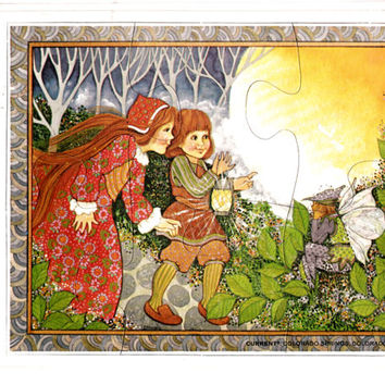"""RARE 1978 Vintage Current, Inc. Puzzle Greeting Card """"Enchanted Forest"""" w Envelope Sealed Factory Package - Fantasy Fairy Theme Ephemera"""