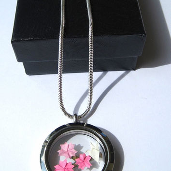 Japanese Charm Cherry Blossom Charm Locket Origami Necklace Cherry Blossom and Paper Crane Floating Locket Sterling Silver Jewelry