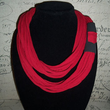 Deep Crimson Red Infinity Scarf With A Pocket.... Trendy Eternity Scarf...T-shirt  Loop Scarf....Large Cowl....Light Weight Circle Scarf
