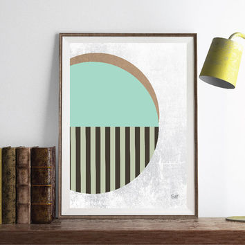 PRINT of Abstract art Circles Geometric art Retro poster Minimal Modern Scandinavian Nordic Style Abstract poster print.