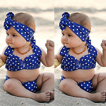 Toddler Kids Baby Girls Dots Bikini Swimwear Swimsuit Bathing Suit Beachwear