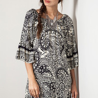 Umgee Paisley Day Dress in Black and White