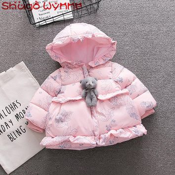 Winter Baby Girls Long Sleeve Floral Print Hooded Cotton Down Warm Outerwear Kids Parkas Infant Snow Wear Coat Casaco