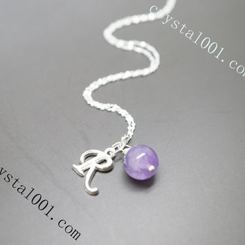 Amethyst Necklace - Initial Necklace - Birthstone Jewelry USA