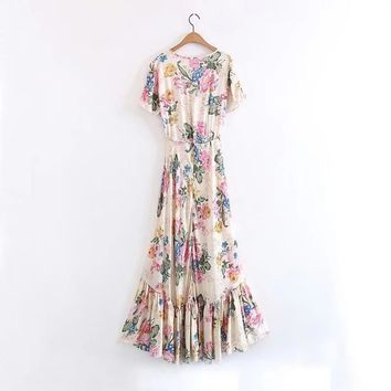 V-neck Floral Maxi High-Low Hem spring/summer Dress