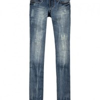 Washed Faded Low-rise Denim Pants with Rip Detail