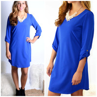 Casual Affair Royal Blue Button Sleeve Shift Dress