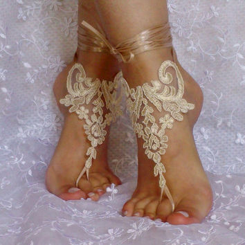 Cappuccino lace barefoot sandals shoe  elegant beach wedding shoe bridesmaid gift