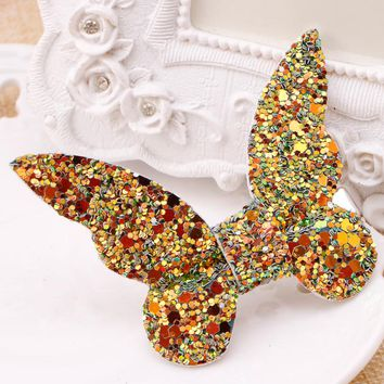 Fashion Lovely Hair Accessories butterfly Leather Gravel Bow Hairpin for Children girl