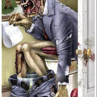 Zombie Restroom Door Cover