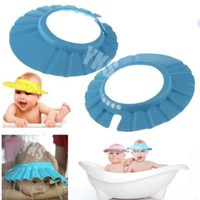 YKS 2PCS Adjustable Soft Baby Kids child Children Shampoo Bath Shower wash hair Waterproof Eye Shield Cap Hat Shield sun cap Tub Bathtub Visor for Toddler (Blue.)