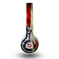 The Dark Wrinkled American Flag Skin for the Beats by Dre Mixr Headphones