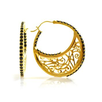 Large 14K Gold Plated Sterling Silver Hoop Earrings with Signature Design with Black Onyx