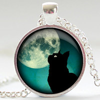 Black Cat Necklace, Black Cat and Teal Jewelry, Black Cat Pendant, Black Cat Charm, Your Choice of Finish (1185)