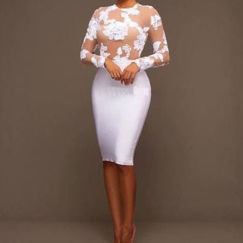White Applique Flower Mesh Midi Bodycon Dress