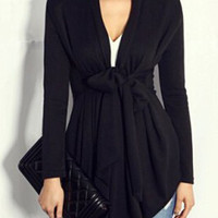 Turn-Down Collar Long Sleeve Tie-Waist Trench Coat