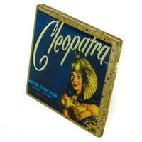 Cleopatra Brand - Vintage Citrus Crate Label - Handmade Recycled Tile Coaster