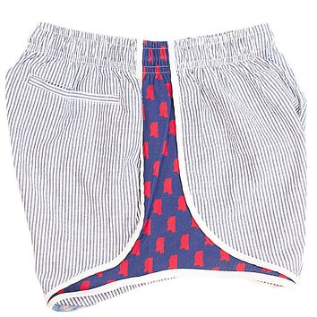Ole Miss Seersucker Shorties in Navy/Red by Lauren James