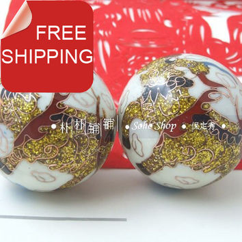 50mm chinese baoding balls w/gold kirin,fadeless in multi colors.Cloisonne health stress balls. Red paper box. shipping.