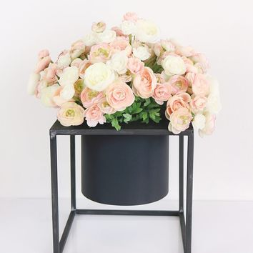 """Metal Floral Planter Stand with Pot - 5"""" Square"""