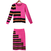 Round Neck Long Sleeve Striped Knit Two-Piece Outfits