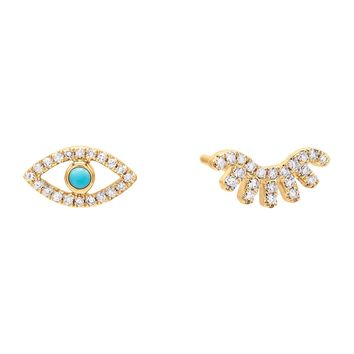 Diamond Turquoise Eye Stud Earring 14K