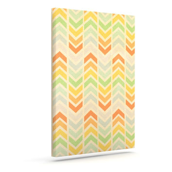 "Skye Zambrana ""Infinity"" Tan Chevron Outdoor Canvas Wall Art"