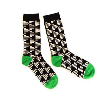 Black with 'Grey Bars' Pattern Socks