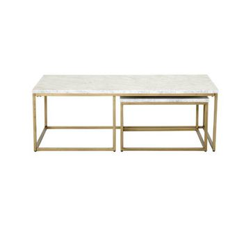 Gray Manor Autumn Goldtone and White-finished Wood and Marble Nesting Coffee Table | Overstock.com Shopping - The Best Deals on Coffee, Sofa & End Tables