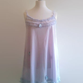 Vintage lilac nightgown - sheer ruffled babydoll nightie - frilly see through nylon nightdress -  pin up retro night gown