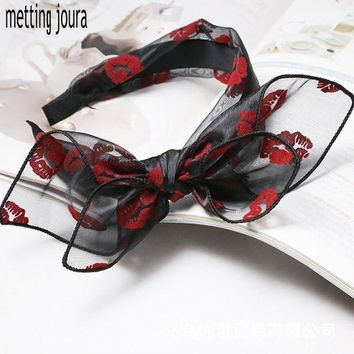LMFONRZ Metting Joura Bohemian Vintage Punk Red Lip Print Lace Big Double Bow Wide Headband Hairband Hair Accessories