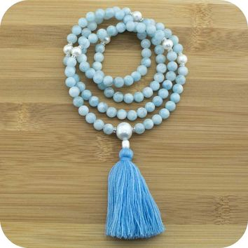 Aquamarine Mala Beads Necklace with Freshwater Pearl