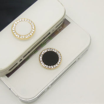 1PC Bling Crystal Framed Circle iPhone Home Button Sticker Charm for iPhone 4,4s,4g,5,5c Cell Phone Charm Lover Gift