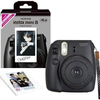 Fuji Instax Mini 8 N Black + Original Strap Set Fujifilm Instax Mini 8N Instant Camera