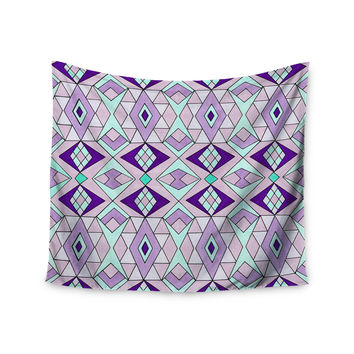 "Pom Graphic Design ""Geometric Flow"" Lavender Geometric Wall Tapestry"