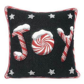 """DaDa Bedding Peppermint Joy Stars Throw Pillow Cover Tapestry Cases 16"""" x 16"""" (12904)"""