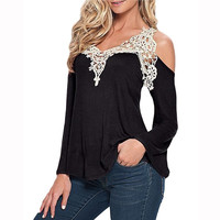 Sexy Women's Spring and Summer V Neck Long Sleeve Lace Hollow out Crochet Blouse blusa renda Top Shirt New Lady Party