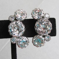 Brilliant Signed WEISS Big Chaton Rhinestone Vintage Earrings