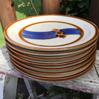 Vintage Stoneware salad plates in earth tone colors, retro stoneware dishes, Milkyway by International China SY-615, retro kitchen serving