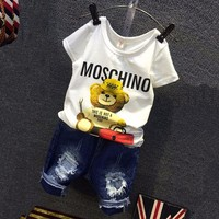 2016 Children Cartoon Bear White T Shirt Ripped Denim Shorts 2 Pieces Girls Casual Summer Boys Clothing Sets