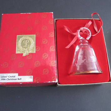 Lenox Crystal 1986 doves Tree miniature bell ornament Made in USA