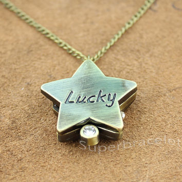 Nautical Star Necklace, Patina Brass - Star pocket watch Necklace - gift to girlfriend and BFF