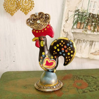 Vintage Portuguese galo Barcelos rooster filigree figurine good Luck charm coin rhinestones cockscomb