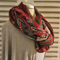 Spring-Summer Chiffon Scarf, Red Paisley LOOP, Upcycled Red Paisley Shawl